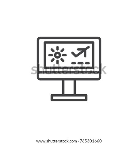 Air Ticket Flight Booking Line Icon Outline Vector Sign Linear Style Pictogram Isolated On