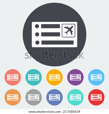 Air ticket. Single flat icon on the circle. Vector illustration. - stock vector