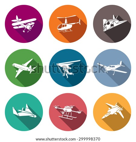 Air transport and the device Icons Set. Vector Illustration. Isolated Flat Icons collection on a color background for design - stock vector