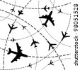 Air travel. Airplanes on their destination routes. Vector Illustration - stock photo