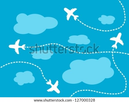 Air travel background - airline routes, sky and clouds illustration - stock vector