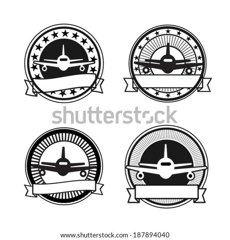 Air travel badges: black and white colors, retro - stock vector
