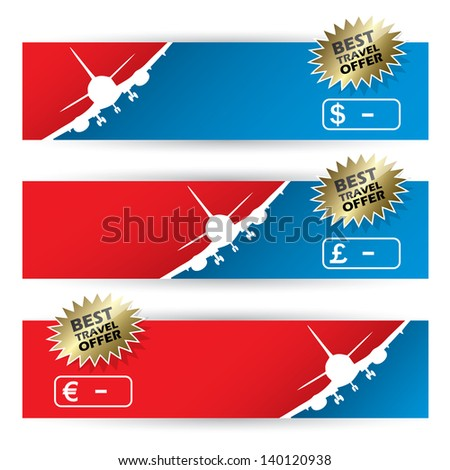 Air travel banners - vector illustration - stock vector