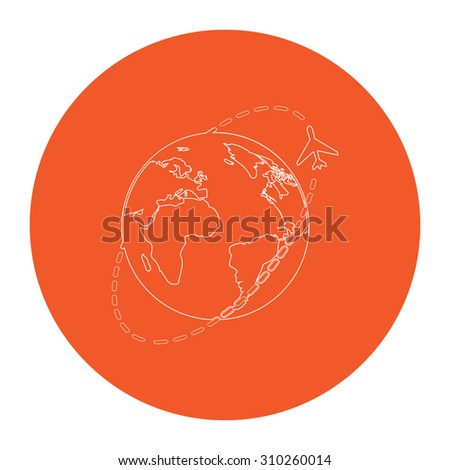 Air travel destination. Flat outline white pictogram in the orange circle. Vector illustration icon - stock vector