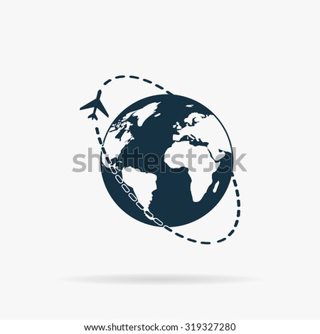 Air travel destination. Flat vector web icon or sign on grey background with shadow. Collection modern trend concept design style illustration symbol - stock vector