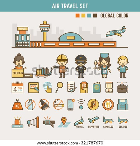 air travel infographic elements for kids including characters and icons - stock vector