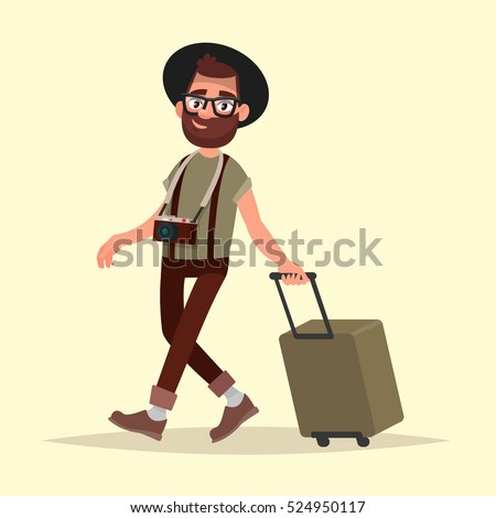 Air traveler. Hipster man with luggage goes to the airport. Vector illustration in cartoon style