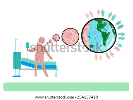 Airborne Disease Outbreak from One Person with Rashes to others worldwide. - stock vector
