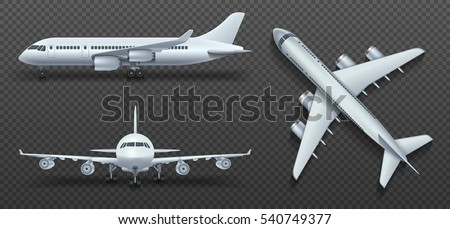 Aircraft, airplane, airliner in different point of view vector. Set of air plane front side and top illustration.