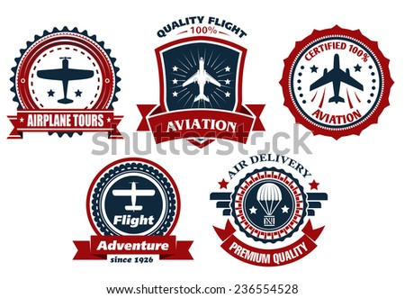 Aircraft and aviation banners or badges for transportation and delivery business industry design - stock vector
