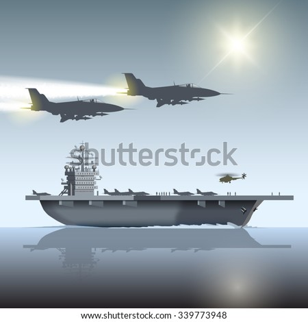 Aircraft carrier and flying aircraft. Vector illustration - stock vector