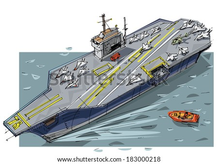 Aircraft carrier - cartoon - stock vector
