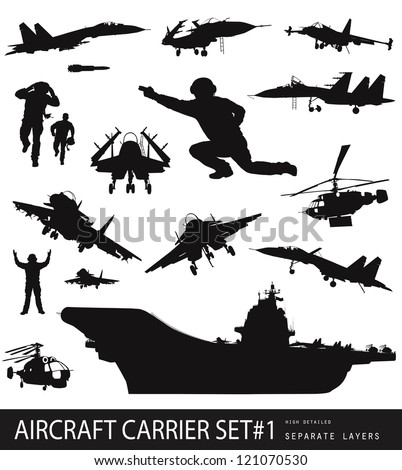 Aircraft carrier high detailed silhouettes set. Vector - stock vector