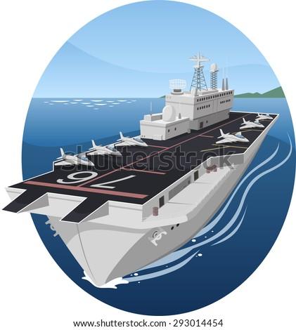 Aircraft carrier war battle warship vector cartoon illustration - stock vector