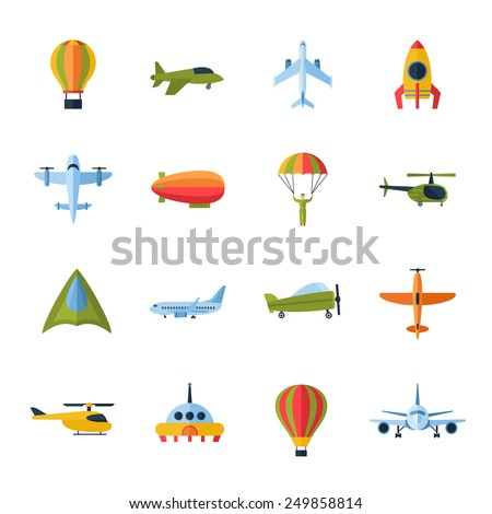 Aircraft civil and army cargo transport flat icons set with helicopter jetliner parachute abstract isolated vector illustration - stock vector