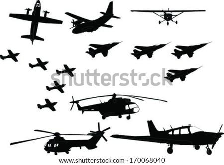 aircraft collection - vector - stock vector