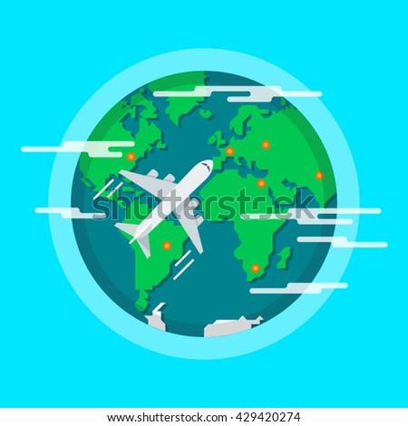 Aircraft Flying Around The World. Tourist flight. Vector Illustration. - stock vector