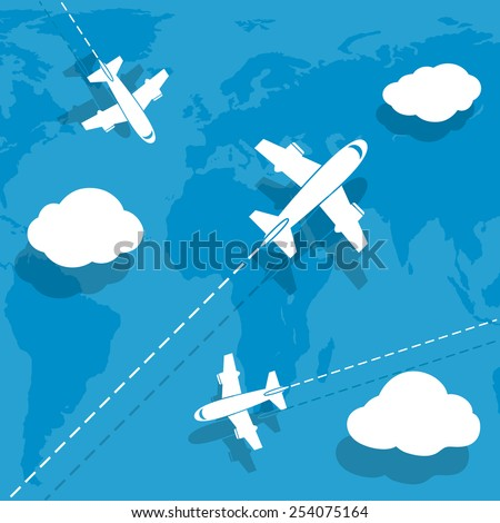 Aircraft flying over earth map - stock vector