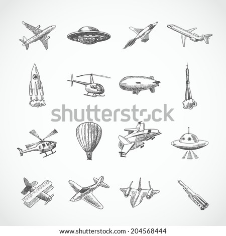 Aircraft helicopter military aviation airplane sketch icons set isolated vector illustration - stock vector