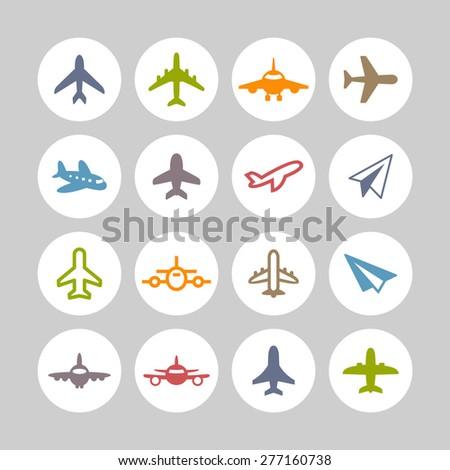 Aircraft icons - stock vector