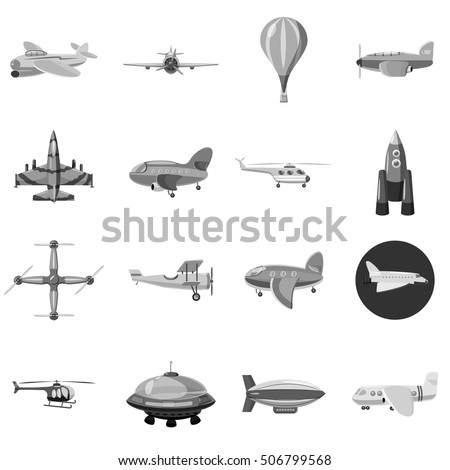 Aircraft icons set. Gray monochrome illustration of 16 aircraft vector icons for web