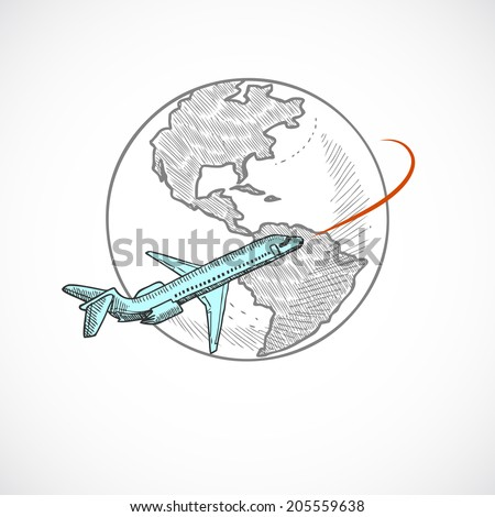 Aircraft jet flying around the globe sketch icon isolated on white background vector illustration - stock vector