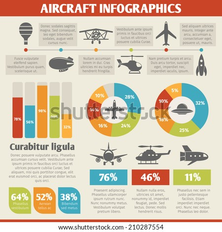 Aircraft military and passenger aviation air tourism infographic vector illustration - stock vector