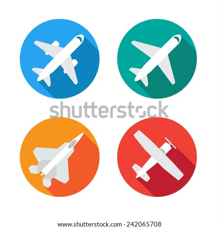 Aircraft or Airplane Flat Minimal Icons Set Collection Vector Silhouette - stock vector