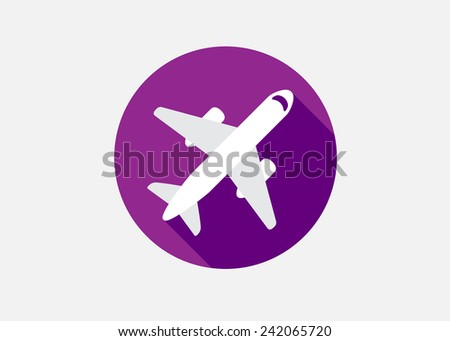 Aircraft or Airplane Icon Flat Minimal Vector Silhouette - stock vector