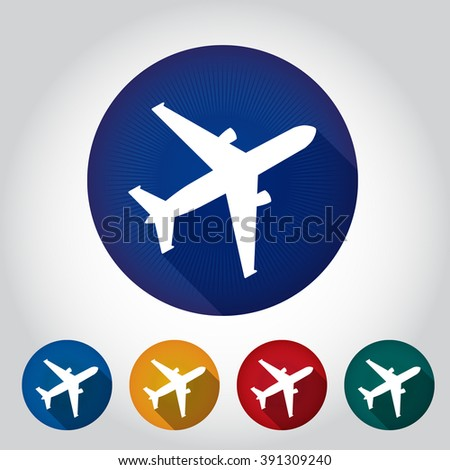 Aircraft or Airplane Icon, Flat Minimal Vector Silhouette 5 colors on white background. - stock vector