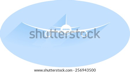 Aircraft or Airplane Icon, Flat Minimal Vector Silhouette on blue background - stock vector