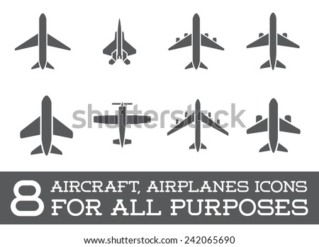 Aircraft or Airplane Icons Set Collection Vector Silhouette - stock vector