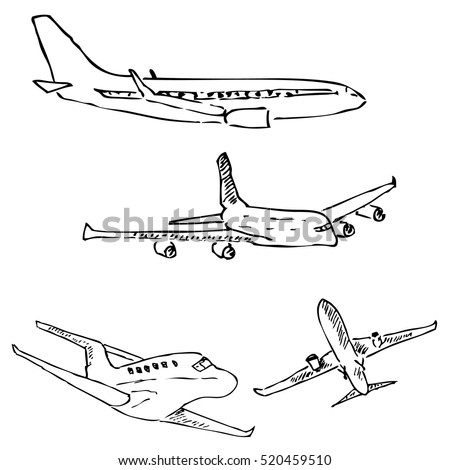 Aircraft pencil sketch by hand