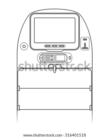 Aircraft seat-back screen controls - screen on/off. volume, brightness, coat hanger, in-seat power (USB and AC), and pop-out remote control keypad / in-seat phone. - stock vector