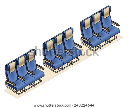 Aircraft seating row configuration: 3 - 3 - 3 - stock vector