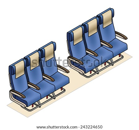 Aircraft seating row configuration: 3 - 3 - stock vector