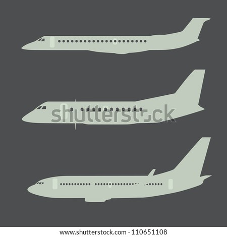 Aircraft silhouettes, black and grey isolated on white background. - stock vector