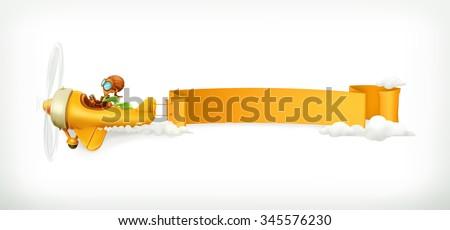 Aircraft vector, banner - stock vector