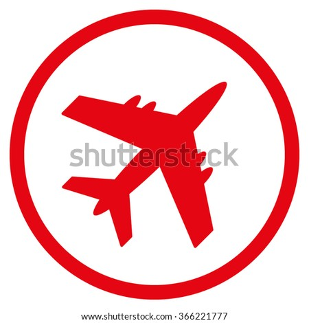 Aircraft vector icon. Style is flat circled symbol, red color, rounded angles, white background.