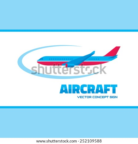 Aircraft - vector logo concept illustration. Vector logo template. Airplane silhouette for transportation and travel company. Travel agency logo. Design elements. - stock vector