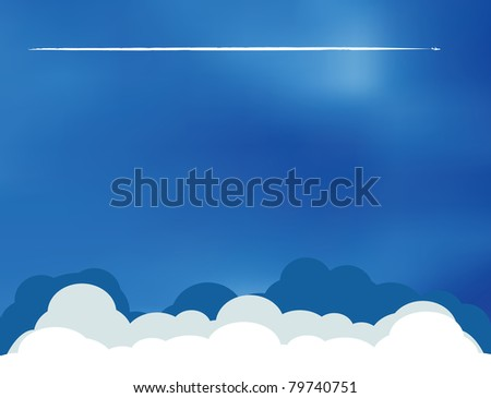 Aircraft with condensation trim over blue summer sky