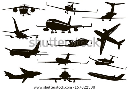 Aircrafts detailed silhouettes set. Vector - stock vector