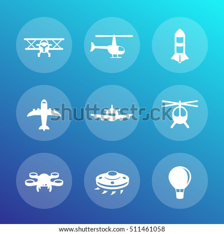 Aircrafts icons set, airplane, aviation, air transport, helicopter, drone, biplane, alien spaceship, top view of plane, vector illustration