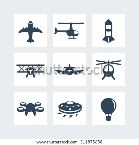 Aircrafts icons set isolated on white, vector illustration