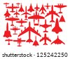 Aircrafts in red silhouettes. - stock vector