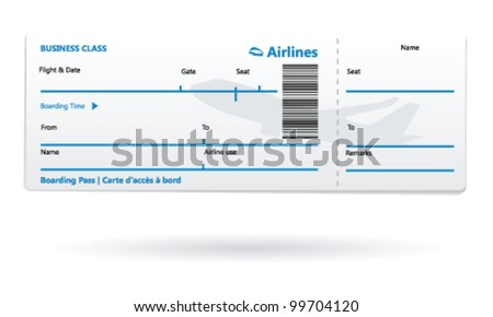 Airline boarding pass blank - stock vector