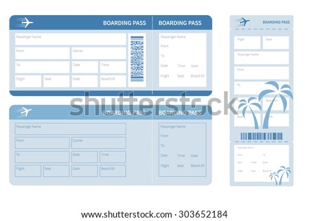 Airline boarding pass. Blue ticket isolated on white background. Vector illustration - stock vector