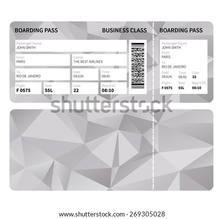 Airline boarding pass ticket for business class. Vector illustration. - stock vector