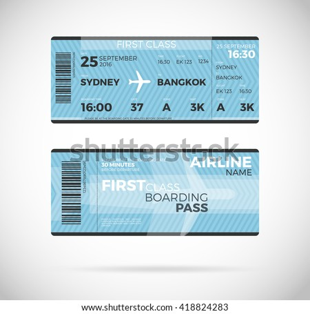 Airline Boarding Pass Ticket First Class Stock Vector (Royalty Free ...