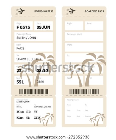 Airline boarding pass ticket for traveling by plane. Vector illustration. - stock vector